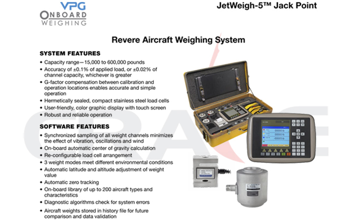 VPG/JetWeigh-5™ Aircraft Weight System飞机称重设备