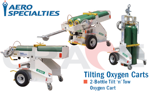 AEROSPECIALTIES/通航飞机双瓶充氧车/2-Bottle Tilt'n'Tow Oxygen Cart